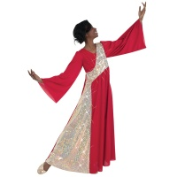Body Wrappers Stained Glass Asymmetrical Bell Sleeve Dress