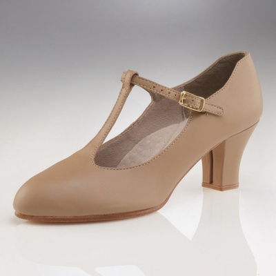 Capezio Jr. Footlight T-Strap Character Shoes - Caramel