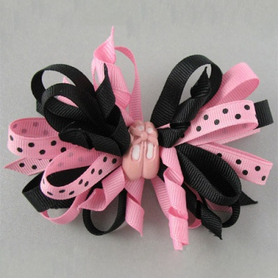 Dasha Dotted Mixed Ribbon Bow Barrette