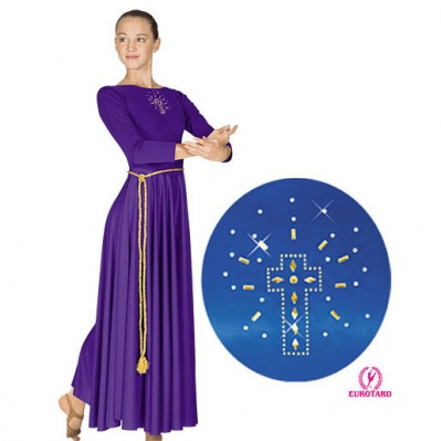 Eurotard Dress with Shining Gold Cross Applique